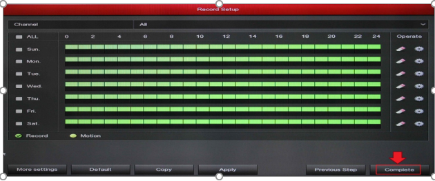تنظیمات ضبط تصاویر در بسته امنیتی لانگسی XVRDA2108HD8MB500