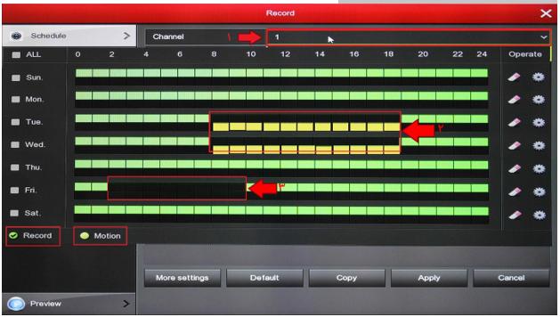 تنظیمات مربوط به زمان ضبط تصاویر در پکیج امنیتی لانگسی XVRDA2108HD8MB500