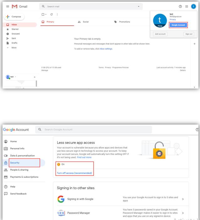 تنظیمات جی میل gmail برای دریافت پیام ها در پکیج امنیتی لانگسی
