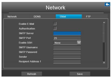 تنظیمات ایمیل در بسته امنیتی فوسکم مدل FN3108XE-B4-1T